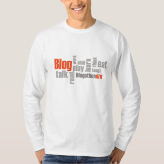 Camiseta T longo branco da luva do BlogathonATX dos homens