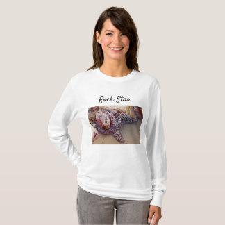 Camiseta T longo da luva da estrela do rock