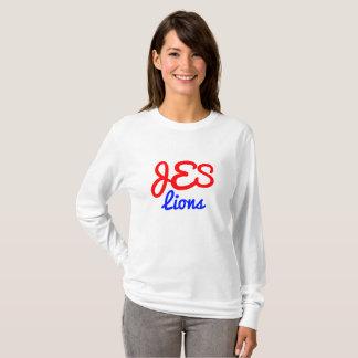 Camiseta T longo da luva das mulheres do monograma do JES