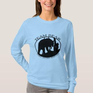 Camiseta T longo da luva das senhoras do urso da equipe