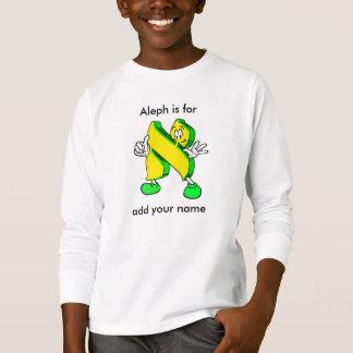 Camiseta T longo da luva do caráter hebreu de Alef dos