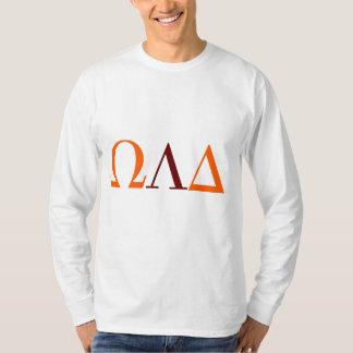 Camiseta T longo da luva do delta de Omega Lambda dos
