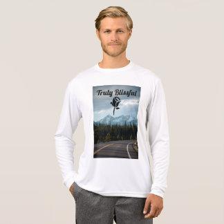 Camiseta T longo da luva do roupa feliz