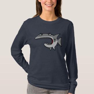 Camiseta T longo da luva do tubarão dos desenhos animados