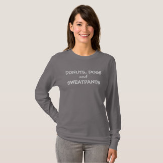 Camiseta T longo da luva dos cães, das rosquinhas & do