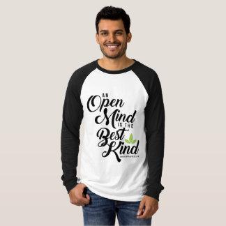 Camiseta T longo da mente aberta de Cannatopia do Raglan da