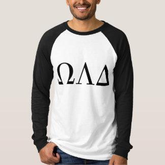 Camiseta T longo do basebol da luva do delta de Omega