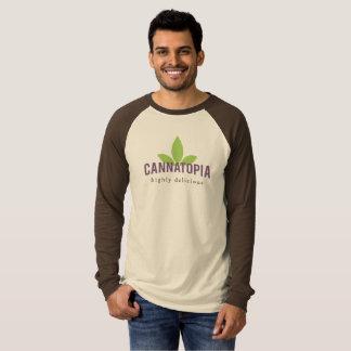 Camiseta T longo do logotipo de Cannatopia do Raglan da