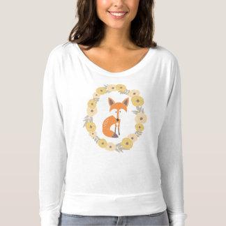 Camiseta T longo floral Foxy do Slub da luva