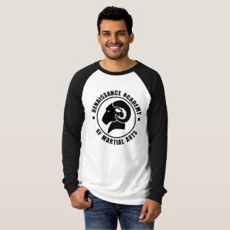 Camiseta T longo preto e branco de RAM da luva do ajustado