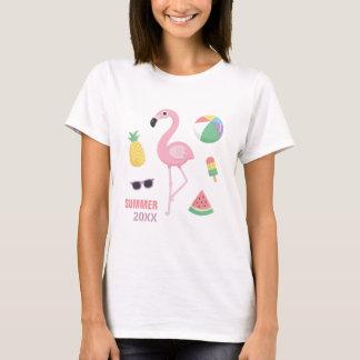 Camiseta T na moda das meninas de Luau do flamingo do rosa