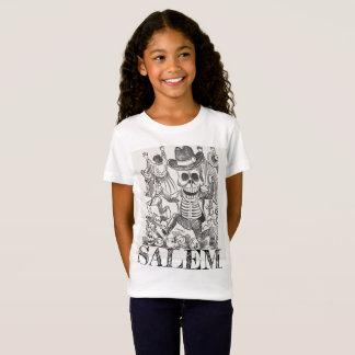 Camiseta T oculto do crânio de Salem Massachusetts, menina
