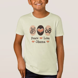 Camiseta T orgânico dos miúdos de Obama 08 do amor da paz