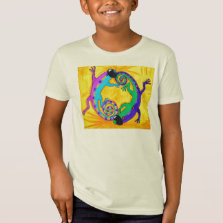 Camiseta T orgânico dos miúdos - lagartos tropicais Groovy