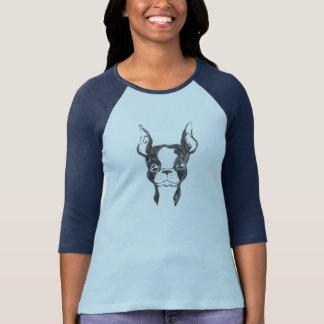 Camiseta T pintado mão do basebol das mulheres do cão da