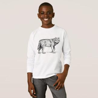 Camiseta T por muito tempo Sleeved de passeio do lobo