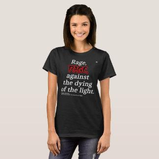 Camiseta T preto básico das citações de Dylan Thomas das