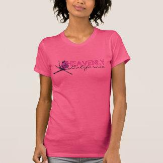 Camiseta T preto cor-de-rosa celestial das senhoras do