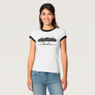Camiseta T preto da guarnição da balsa