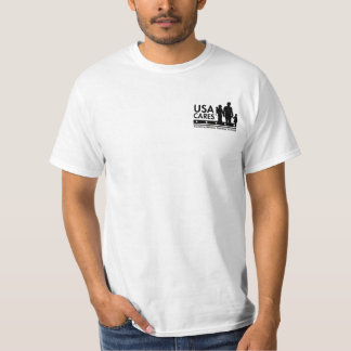 Camiseta T preto do logotipo dos cuidados dos EUA