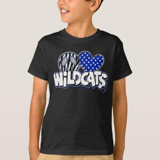 Camiseta T preto dos SS dos Wildcats do AMOR da PAZ dos