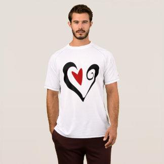 Camiseta T preto e vermelho do Active dos homens do coração