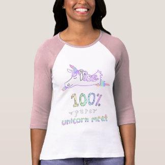 Camiseta T puro do basebol da carne do unicórnio de 100 por