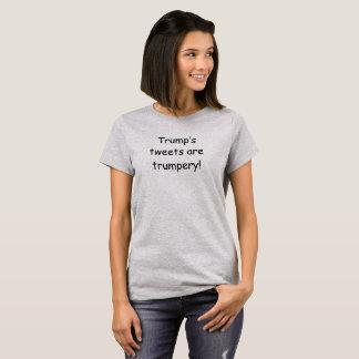 Camiseta T que expressa a opinião nos tweets do trunfo