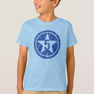 Camiseta T rachado de cinco estrelas do ANIVERSÁRIO