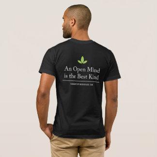 Camiseta T relaxado da parte traseira da mente aberta do