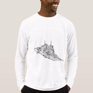 Camiseta T-S longos cabidos Esporte-Tek da luva do