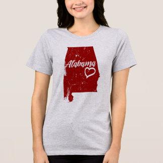 Camiseta T-shirt afligido amor do vintage do estado do AL