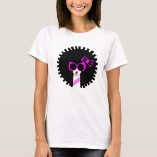 Camiseta T-shirt afro cor-de-rosa das meninas bonito