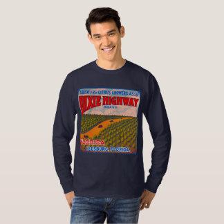 Camiseta T-shirt alaranjado da arte da caixa da estrada de