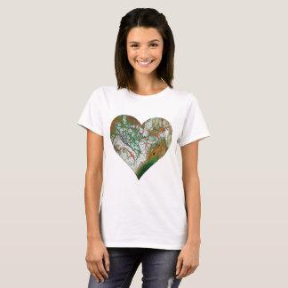 Camiseta T-shirt alaranjado do coração do esmagamento