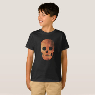 Camiseta T-shirt alaranjado do traje do crânio do fogo do