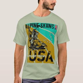 Camiseta T-shirt alpino da bota de esqui dos EUA do esporte