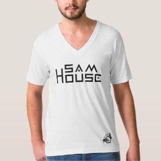 Camiseta T-shirt americano do V-pescoço do jérsei da multa