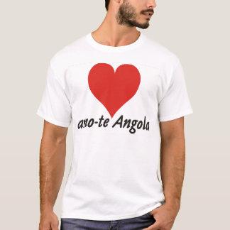 Camiseta T-shirt - amo-te Angola - de coração - branca