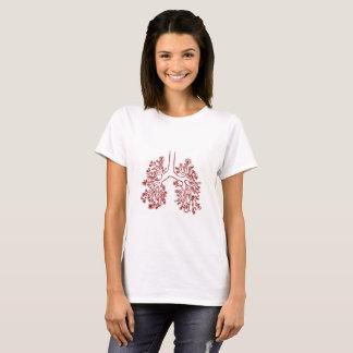 Camiseta T-shirt anatômico floral da ilustração dos pulmões