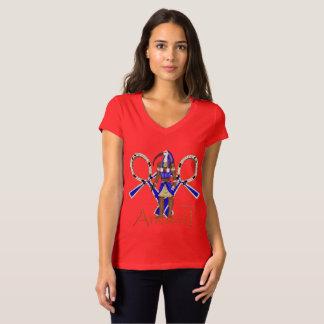 Camiseta T-shirt antigo do V-Pescoço do jérsei das senhoras