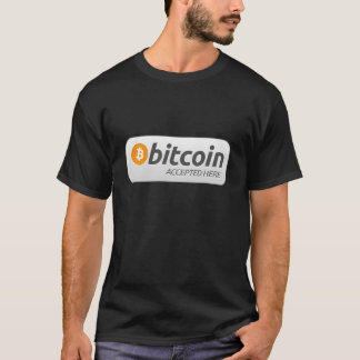 Camiseta t-shirt aqui aceitado bitcoin