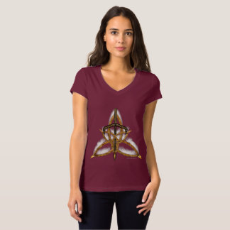 Camiseta T-shirt ardido do jérsei do V-Pescoço das senhoras