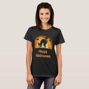 Camiseta T-shirt assombrado assustador feliz do gato preto