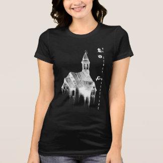 Camiseta T-shirt assustador da igreja no preto