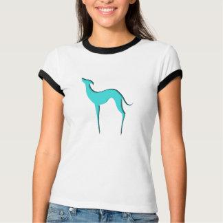Camiseta T-shirt azuis das senhoras da silhueta do
