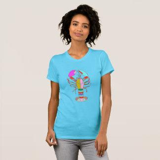 Camiseta T-shirt azul brilhante do verão da lagosta