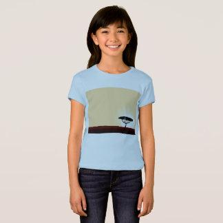 Camiseta T-shirt azul com árvores exóticas