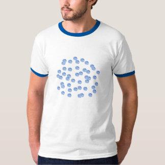 Camiseta T-shirt azul da campainha de homens de bolinhas
