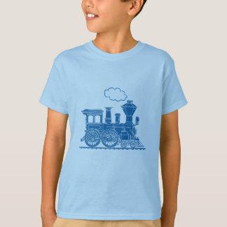 Camiseta T-shirt azul da luz do trem da locomotiva de vapor